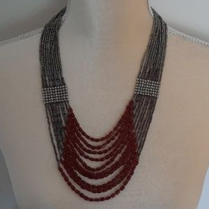 Gun metal and red beaded necklace